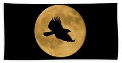 Hawk Flying By Full Moon Beach Towel