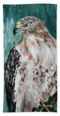 Beach Towel featuring the painting Hawk by Maria Langgle