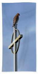 Beach Towel featuring the photograph Hawk On Steeple by Richard Rizzo