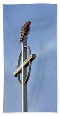 Hawk On Steeple Beach Towel by Richard Rizzo