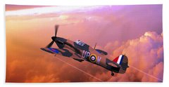 Beach Towel featuring the digital art Hawker Hurricane British Fighter by John Wills