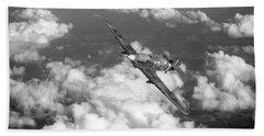 Beach Towel featuring the photograph Hawker Hurricane IIb Of 174 Squadron Bw Version by Gary Eason