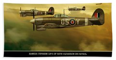 Beach Towel featuring the digital art Hawker Typhoon Sqn 56 by John Wills