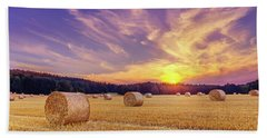 Hay Bales And The Setting Sun Beach Towel