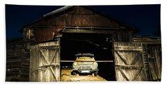 Hay Hut Garaging A Vintage Car Beach Towel