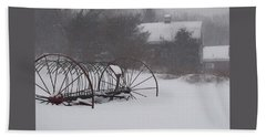 Hay Rake In The Snow Beach Sheet by Joy Nichols