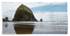 Beach Towel featuring the photograph Haystack Rock #1 by Rebecca Cozart