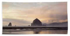 Haystack Rock After The Rain Beach Towel