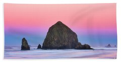 Haystack Rock At Dawn Beach Sheet