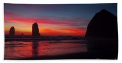 Haystack Rock At Sunset Beach Towel