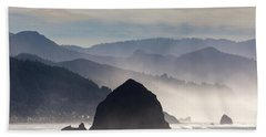 Haystack Rock On The Oregon Coast In Cannon Beach Beach Towel