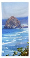 Haystack Rock Oregon Beach Sheet by Tom Janca