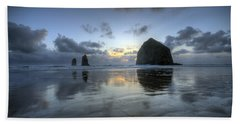 Haystacks At Sunset Beach Towel