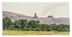Beach Towel featuring the photograph Hazy Chimney Rock by Sue Smith