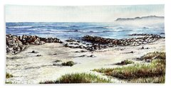 Beach Towel featuring the painting Hazy Coastline by Heidi Kriel