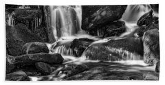 Hd Waterfall In Black And White Beach Towel