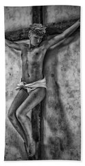 Hdr Crucifix In Black And White Beach Towel