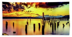 Hdr Vibrant Titlow Beach Sunset Beach Towel