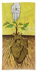 Beach Towel featuring the painting He Cultivates Our Hearts by Nathan Rhoads