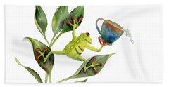 He Frog Beach Sheet by Amy Kirkpatrick