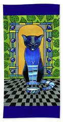 Beach Towel featuring the painting He Is Back - Blue Cat Art by Dora Hathazi Mendes