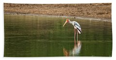 The Painted Stork  Mycteria Leucocephala  Beach Towel