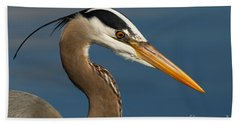 Head Of A Great Blue Heron Beach Towel