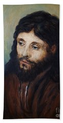 Head Of Christ After Rembrandt Beach Towel