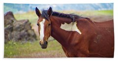 Head Shot Of A Wild Paint Horse Beach Towel