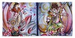 Healing Art - Musical Ganesha And Saraswati Beach Towel
