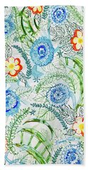 Beach Towel featuring the painting Healing Garden by Monique Faella