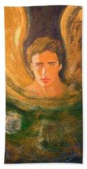 Healing With The Golden Light Beach Sheet