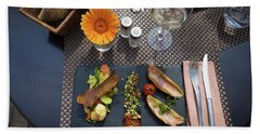 Health Fish Dish Served At A French Restaurant Beach Sheet by Semmick Photo