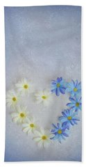 Heart And Flowers Beach Towel