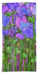 Beach Towel featuring the mixed media Heart Bloomies 2 - Purple by Carol Cavalaris