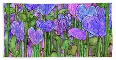 Beach Towel featuring the mixed media Heart Bloomies 3 - Purple by Carol Cavalaris