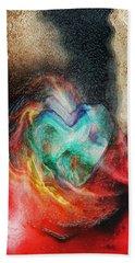 Beach Towel featuring the digital art Heart Deep by Linda Sannuti