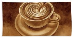Heart Latte Beach Towel by Hailey E Herrera