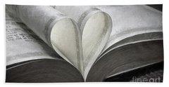 Heart Of The Book  Beach Towel