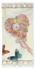 Heart Shape Bouquet With Butterfly Beach Sheet