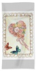 Heart Shape Bouquet With Butterfly Beach Towel