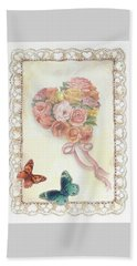 Beach Towel featuring the painting Heart Shape Bouquet With Butterfly by Judith Cheng