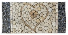 Heart Shaped Traditional Portuguese Pavement Beach Towel
