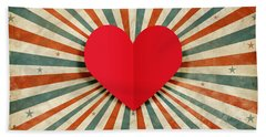 Heart With Ray Background Beach Towel