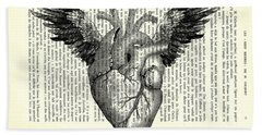 Heart With Wings In Black And White Beach Towel