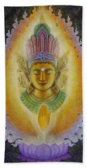 Beach Towel featuring the painting Heart's Fire Buddha by Sue Halstenberg