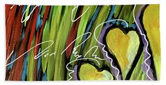 Hearts In The Grass Beach Towel