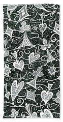 Hearts, Spades, Diamonds And Clubs In Black Beach Towel by Lise Winne