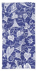 Hearts, Spades, Diamonds And Clubs In Blue Beach Towel by Lise Winne