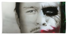 ' Heath Ledger / Joker ' Beach Towel by Christian Chapman Art